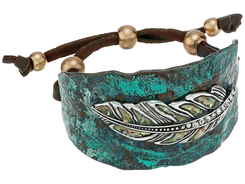 MampF Western Hammered Feather Cuff Bracelet Turquoise Bracelet