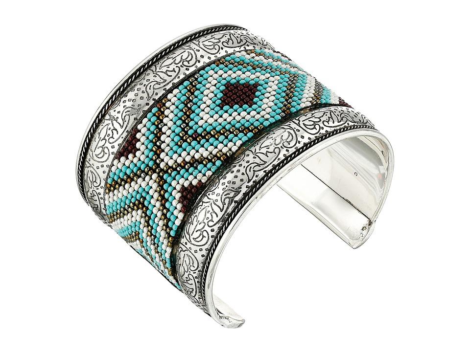 MampF Western Seed Bead Filagree Cuff Bracelet Turquoise Bracelet