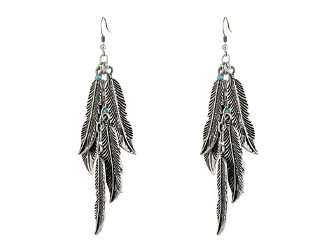 M&F Western Feather Dangle Earrings - Silver