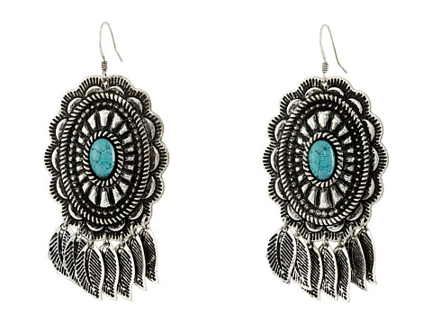 M&F Western Feather Concho Drop Earrings - Silver/Turquoise