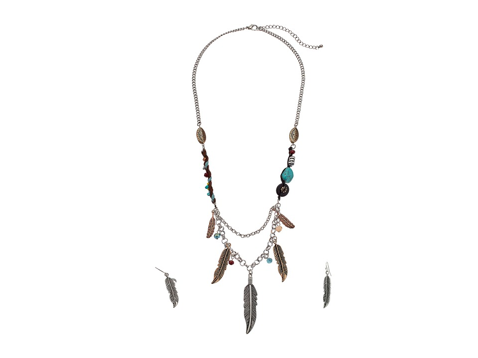 M&F Western - Feather Charms Necklace/Earrings Set (Silver) Jewelry Sets