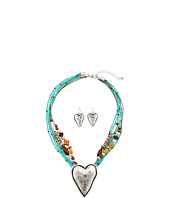 M&F Western - Multi Strand Hammered Heart Necklace/Earrings Set