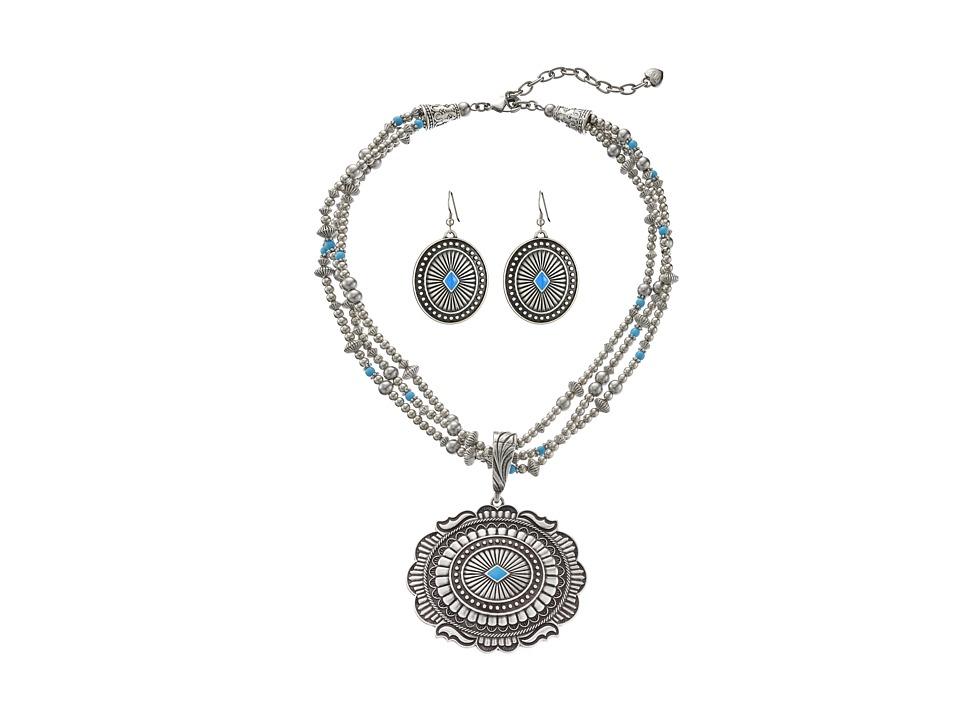 M&F Western - Triple Strand Oval Concho Necklace/Earrings Set (Silver) Jewelry Sets
