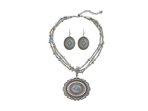 M&F Western Triple Strand Oval Concho Necklace/Earrings Set - Silver