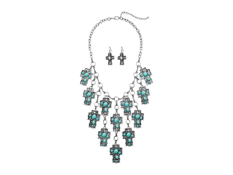 M&F Western - Stone Cross Bib Necklace/Earrings Set (Turquoise) Jewelry Sets
