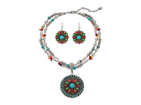 M&F Western Multi Stone Concho Necklace/Earrings Set - Multi