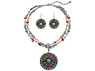 M&F Western Multi Stone Concho Necklace/Earrings Set