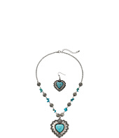 M&F Western - Stone Heart Concho Necklace/Earrings Set