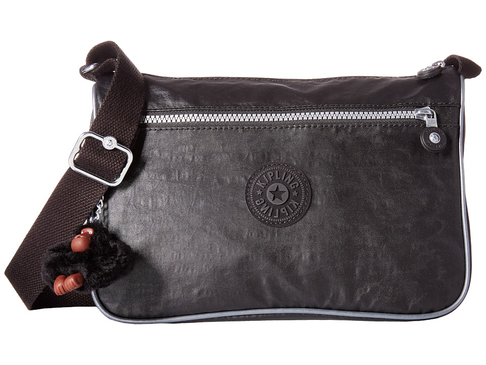 Kipling - Callie Coated Handbag (Black Lacquer/Steel Metallic Trim) Handbags