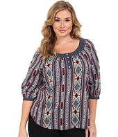 Roper - Plus Size 9903 Printed Cotton Lawn Peasant Blouse
