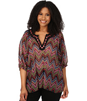Roper - Plus Size 9905 Aztec Printed Georgette Peasant Top