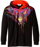 Versace Kids - Hooded Long Sleeve Tee w/ Medusa Paint Drip Graphic Print (Big Kids)