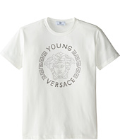 Versace Kids - Young Versace Short Sleeve Tee w/ Medusa Graphic (Big Kids)
