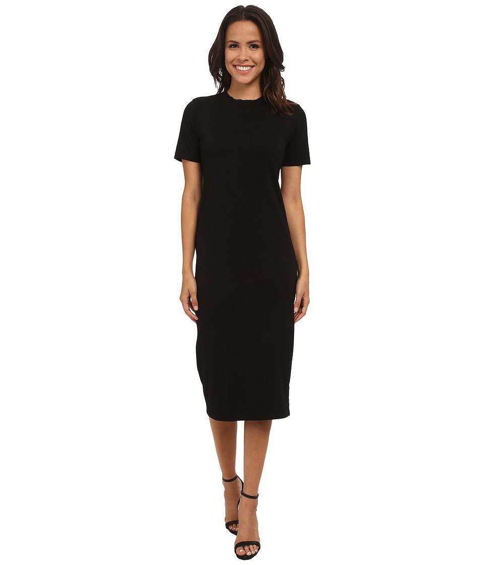 Michael Stars Cotton Lycra Short Sleeve Crew Neck Midi Dress (Black) Women