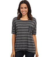 Michael Stars - Silver Lake Stripe Elbow Sleeve Hi Low w/ Pocket