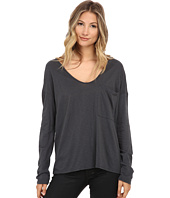 Michael Stars - Supima Cotton Slub Long Sleeve Scoop w/ Pocket