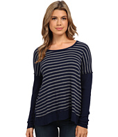 Michael Stars - Thermal Stripe Long Sleeve Wide Scoop Neck