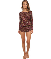 Beach Riot - Crimson Floral Long Sleeve Romper