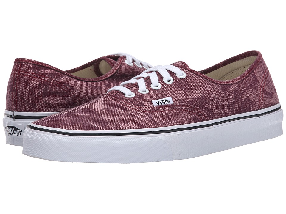 Vans Authentic ((Chambray Leaves) Windsor Wine) Skate Shoes