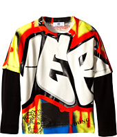 Versace Kids - Graffiti Print Tee w/ Long Sleeve Undershirt (Big Kids)