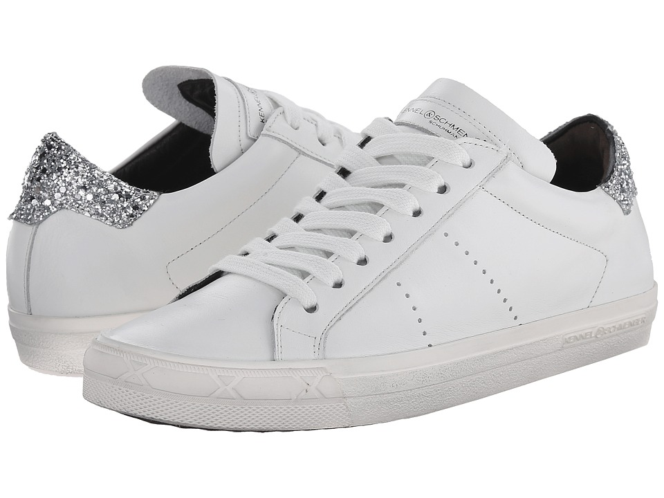 Kennel amp Schmenger Glitter Back Sneaker Bianco/Silver Womens Shoes