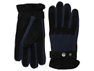 Ribbed Knit and Suede Gloves