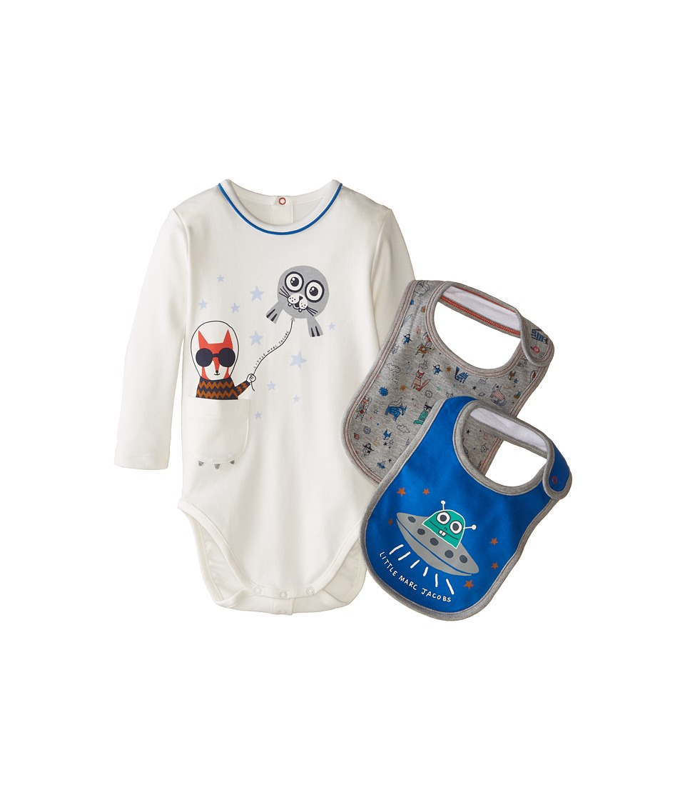 Little Marc Jacobs Gift Set with Bodysuit and 2 Bibs Infant Ecru Blue Boys Active Sets