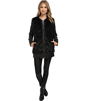 Sam Edelman - Chevron Faux Fur w/ Zip Off PU Sleeves Jacket