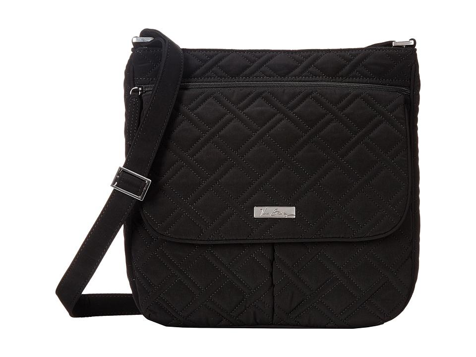 Vera Bradley Double Zip Mailbag Classic Black Cross Body Handbags