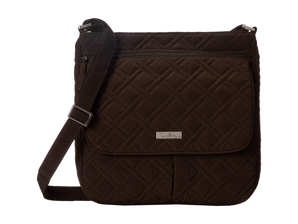 Vera Bradley Double Zip Mailbag Espresso Cross Body Handbags