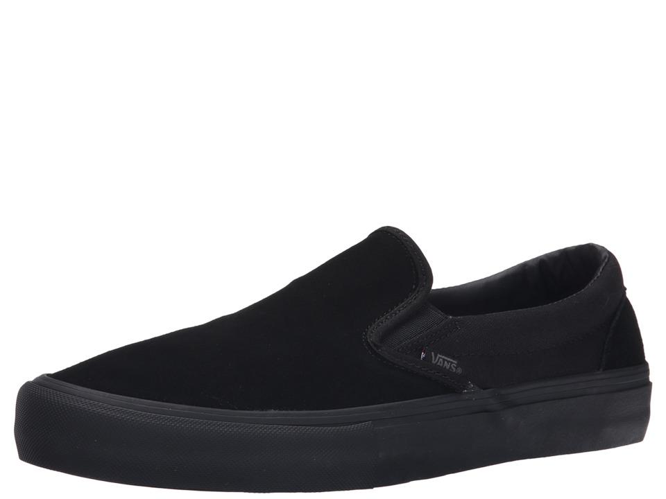Vans Slip-On Pro (Blackout Suede/Canvas) Men's Skate Shoes