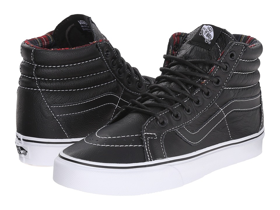 Vans SK8 Hi Reissue Leather Black/Plaid Skate Shoes
