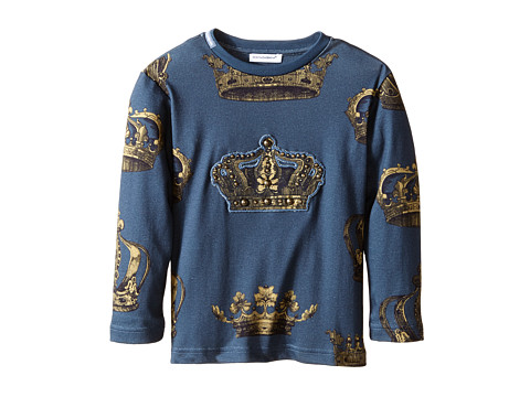 Dolce & Gabbana Kids Crown Print Long Sleeve T-Shirt (Toddler/Little Kids)