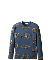 Dolce & Gabbana Kids - Crown Print Long Sleeve T-Shirt (Big Kids)