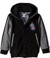 Little Marc Jacobs - Hooded Varsity Jacket with Jersey Sleeves (Toddler/Little Kids)