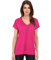 TWO by Vince Camuto - Short Sleeve Mixed Media Y-Neck Pullover
