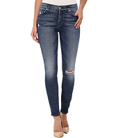 7 For All Mankind - The Ankle Skinny with Navy Squiggle & Destroy in Lake Blue