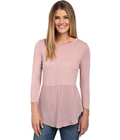 TWO by Vince Camuto - Long Sleeve Mixed Media Crew Neck Tunic