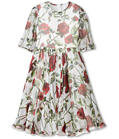 Dolce & Gabbana Kids - Ceremony Rose Print Chiffon Dress (Big Kids)