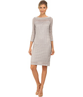 rsvp - 3/4 Sleeve Metallic Chevron Dress with Beaded Neckline