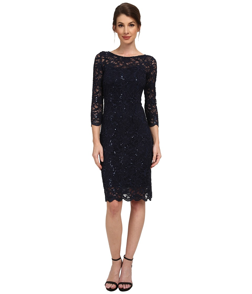 rsvp 3/4 Sleeve Stretch Lace Dress with Sequins Navy Womens Dress