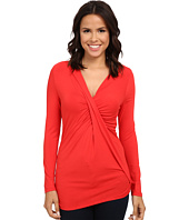 Adrianna Papell - V-Neck Long Sleeve Top Gathered AT Chest