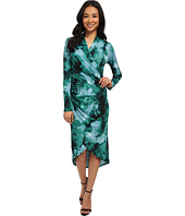 Adrianna Papell - Printed V-Neck Long Sleeve Wrap Dress