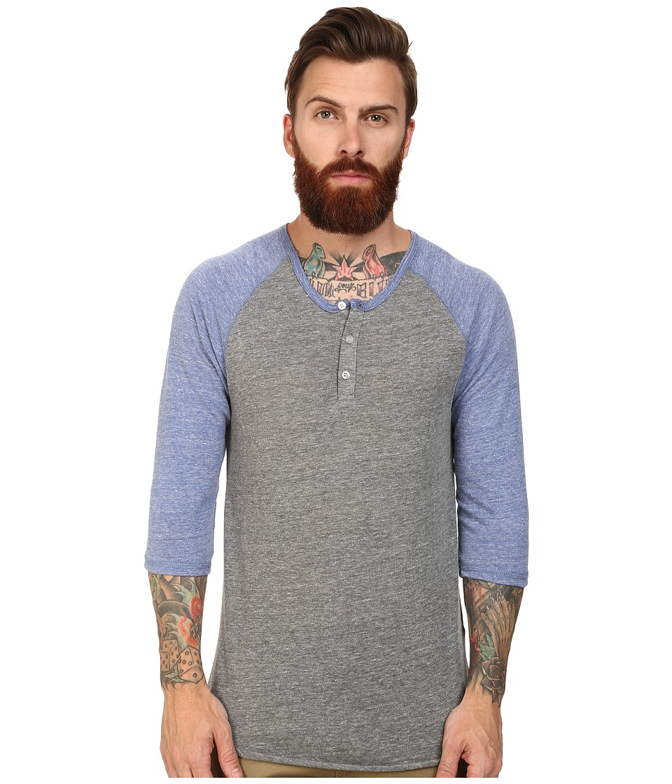 Alternative 3/4 Raglan Henley Eco Grey/Eco Pacific Blue Mens Long Sleeve Pullover