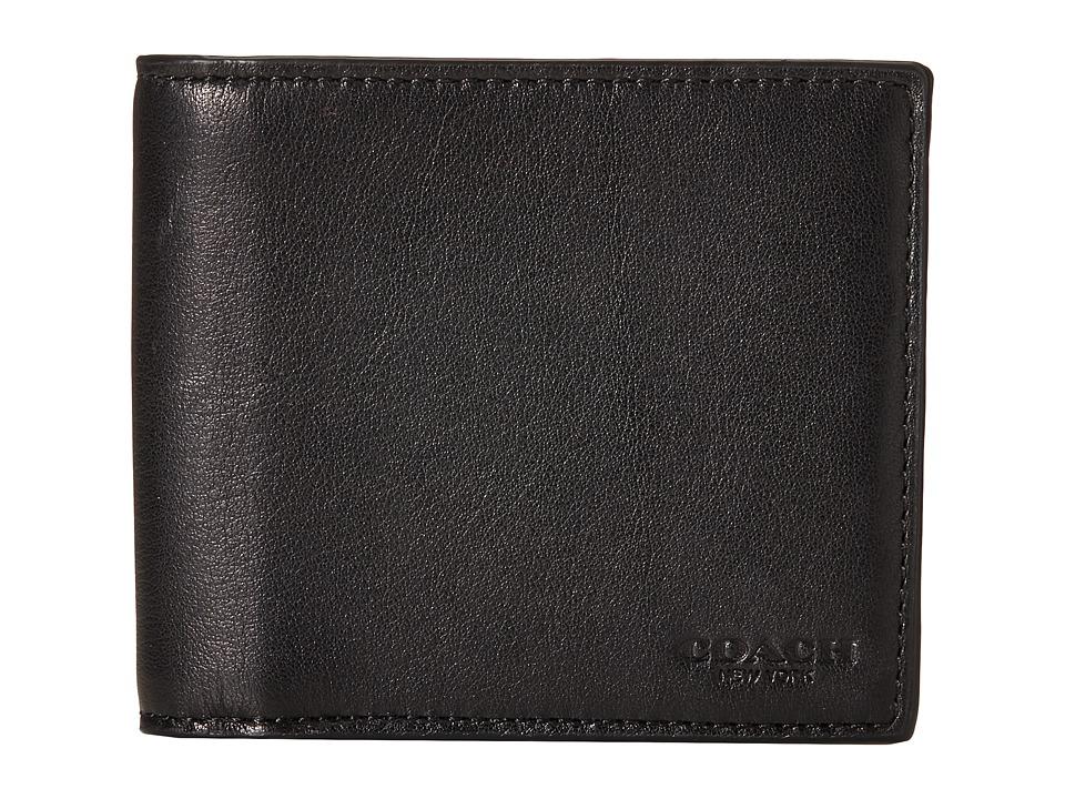 COACH - Sport Calf Compact ID Wallet (Black) Wallet Handbags