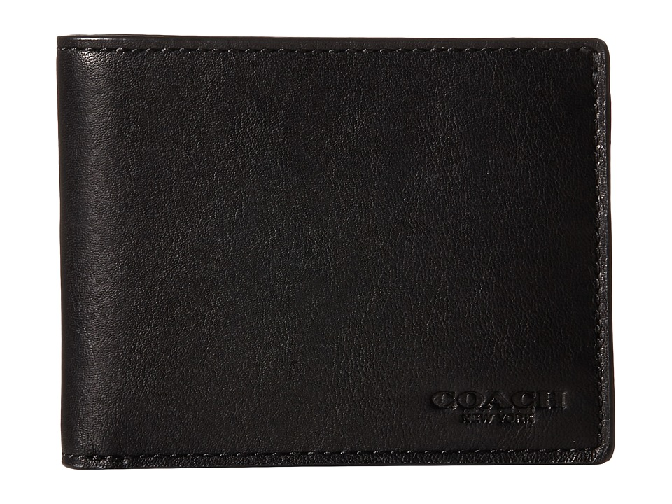COACH - Sport Calf Slim Billfold ID Wallet (Black) Wallet Handbags