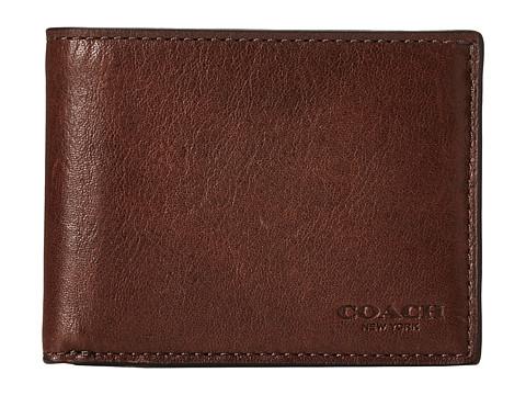 COACH Sport Calf Slim Billfold ID Wallet - Mahogany