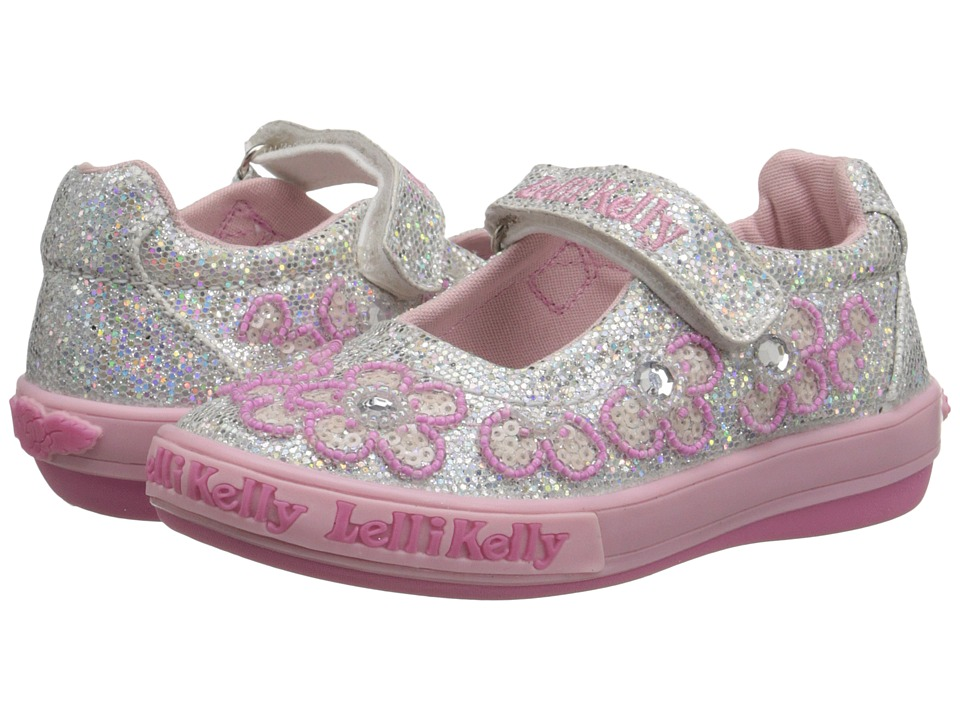 Lelli Kelly Kids Fiore Dolly Toddler/Little Kid Silver Glitter Girls Shoes