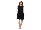 Donna Morgan Sleeveless Embroidered Organza Fit and Flare Dress (Black)