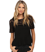 Rebecca Taylor - Short Sleeve Guipure Tee with Ruffle